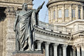 Statue and kazan cathedral saint petersburg monument to barclay de tolli at the russia Royalty Free Stock Photography