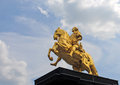 Statue of king august dresden golden on his horse in the new town or neustadt germany europe Stock Photos