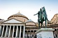Statue of king charles iii in naples italy january plebiscito square historic city centre is the largest Royalty Free Stock Photos