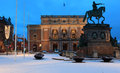 Statue of King Gustav II Adolf and Royal Opera in Stockholm, Sweden Royalty Free Stock Photo