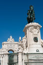 Statue of king jose i and the triumphal arch in lisbon portugal equestrian augusta street Royalty Free Stock Images