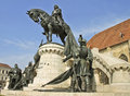 The statue of the king Matthias Corvinus Stock Photo
