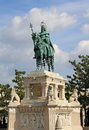 Statue of king saint stephen at fisherman s bastion in budapest Stock Images