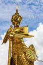 Statue of a kinnara in wat phra kaew bangkok thailand generality in thailand any kind art decorated in buddhist church temple Royalty Free Stock Photos