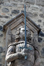 Statue knight with sword at the red tower in halle saale germany Stock Photo