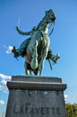 The statue of lafayette man on horse riding Royalty Free Stock Photo