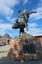 Statue of lane frost cheyenne wyoming this champion bull rider greets visitors to frontier park where one the world s largest Royalty Free Stock Photography