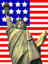 Statue of Liberty against US flag Royalty Free Stock Images