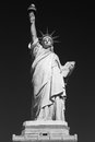 Statue of Liberty, black and white, black sky in New York Royalty Free Stock Photo