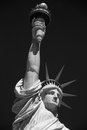 Statue of Liberty, black and white with black sky, New York Royalty Free Stock Photo