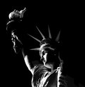 Statue of liberty in black and white illustration as seen from the side Royalty Free Stock Photos