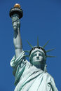 Statue of Liberty close up, blue sky in New York Royalty Free Stock Photo