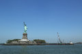 The statue of liberty closed for repair after hurricane sandy damage new york may on may will be reopen to Royalty Free Stock Image