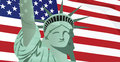 Statue of Liberty in front of USA flag