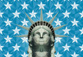 Statue of liberty in geometric triangles stylized head made manually placed triangular shapes many color shades with a separate Royalty Free Stock Photos