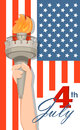 Statue of Liberty hand with torch and flag on background. July 4th. Independence Day