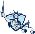 Statue of liberty holding scales justice sword illustration lady facing front weighing and set inside crest shield on Stock Photography