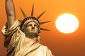 Statue of liberty on island in new york city Stock Photos