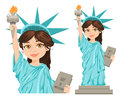 Statue of Liberty. July 4th. Independence Day. Cute cartoon stylized character, full height and close-up.
