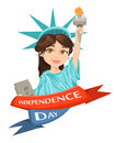 Statue of Liberty. July 4th. Independence Day. Cute cartoon stylized character, greeting card.