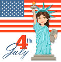 Statue of Liberty. July 4th. Independence Day. Cute cartoon stylized character with USA flag on background.