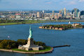 Statue of liberty new york harbor october aerial view the on october it presented to america by the people france in the Stock Photography