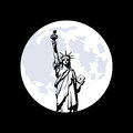 Statue of Liberty in New York and moon Royalty Free Stock Photo