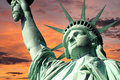 Statue of liberty sunrise new york s with bright sky Royalty Free Stock Photography