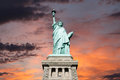 Statue of liberty sunset an upshot the with sky Stock Image