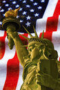 Statue of Liberty with USA flag Royalty Free Stock Photo