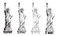Statue of liberty, vector collection of illustrations. Royalty Free Stock Photo