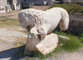 Statue of lion destroyed a fighting with a bull in ancient agora smirna izmir turkey agora under restoration Stock Photography
