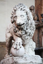 Statue of lion florence italy at piazza della signoria Stock Photo