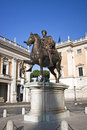 Statue of marcus aurelius in the capitoline hills in rome musei capitolini Royalty Free Stock Photo