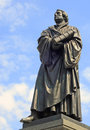 Statue of martin luther dresden bronze german protestant theologist and apostel in germany europe Royalty Free Stock Images