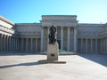 Rodin thinking statue in the middle of building