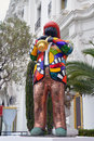 Statue of miles davis in nice by french sculptor painter and film maker niki de saint phalle set front famous and luxury hotel Stock Photos