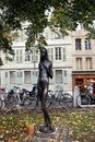A statue of a naked slim girl in the park, Geneva Royalty Free Stock Image