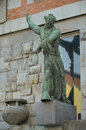 The statue of the national library ljubljana overlooking entrance to and university slovenia Royalty Free Stock Image
