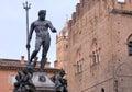 Statue of the neptune fountain on top located in bologna italy in piazza nettuno next to piazza maggiore Stock Photography