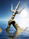 Statue of neptune or poseidon s arm holding trident coming up through the water d render Stock Photo