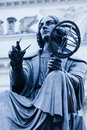 Statue of nicolaus copernicus in warsaw toned image Royalty Free Stock Image
