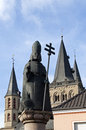Statue norbert of xanten and victordom cathedral germany land state north rhine westphalia district wesel niederrhijn lower rhine Stock Photos