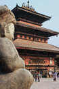 Statue and pagoda in Bhaktapur Stock Photos