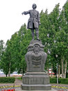 Statue of peter i in petrozavodsk the outdoor bronze and granite ippolit monighetti Royalty Free Stock Images