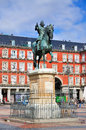 Statue philips iii plaza mayor madrid spain one most famous squares spanish capital Stock Photography