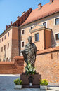 Statue of pope john paul ii blessed or the great papa giovanni paolo karol jozef wojtyla on wawel in krakow Royalty Free Stock Image