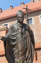 Statue of pope john paul ii blessed or the great papa giovanni paolo karol jozef wojtyla on wawel in krakow Royalty Free Stock Photography