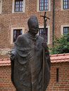 Statue of pope john paul ii in krakow wawel castle in cracow poland Royalty Free Stock Photography