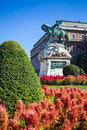 The statue of prince eugene of savoy in front of buda castle nudapest hungary Royalty Free Stock Images
